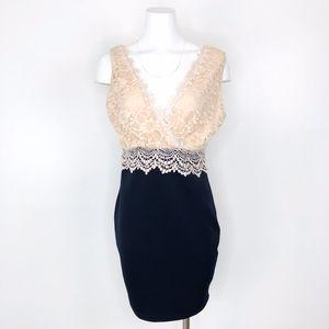AX Paris | Lace Top Body Con Black Dress